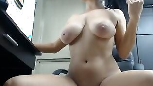 skinny chick that has like huge boobs is getting her pussy vibrated