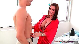 Busty babe goes the extra mile to seduce her boyfriend for sex