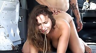 Busty and perky girl on the bar gets her wet vagina fondled