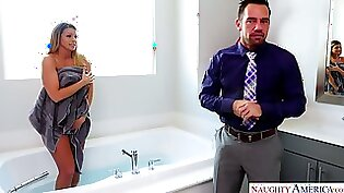 Busty and american in his own bathroom
