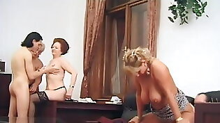 Chubby mature lady loves to fuck with the guys on orgy