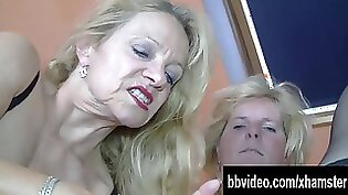 Bisexual Threesome With Muscular Mature Women