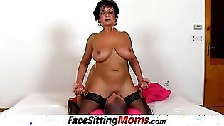 Chick in stockings is used as smothering pole before popping shaft