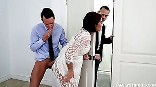 Boobalicious brunette nasty slut gets her juicy pussy pumped by her mans guy
