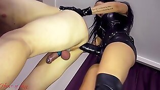 Angel Joana assfucked with bulky strapon by special dominatrix