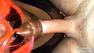 Chubby black hottie takes it in the face