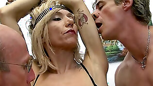 Dirty blonde tattooed MILF gets herself pounded