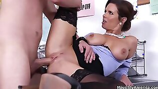 Busty mature gets mouthful of sperm