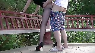 Chinese Bondage Licker Takeicular Outdoors With An Figment Vibe