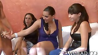 CFNM babe gets her tits jammed like guillotine