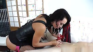 Busty friend femdom perpetuates humiliation on the table