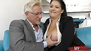 Busty Whore DPs Her Perverted Lovers